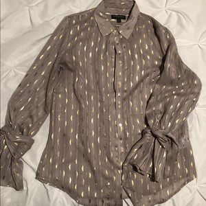 Semi sheer tie sleeve button down